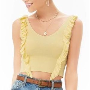 Forever 21 Ruffle Yellow Crop Top